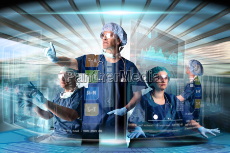 doctors team with screens