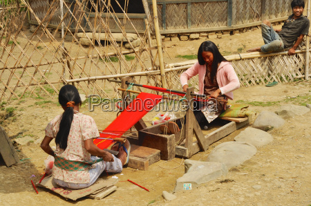 young women producing textile in nagaland
