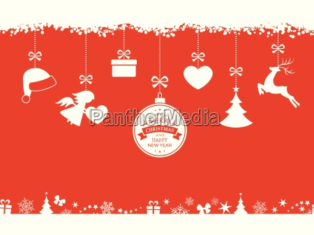 red christmas background with hanging ornaments