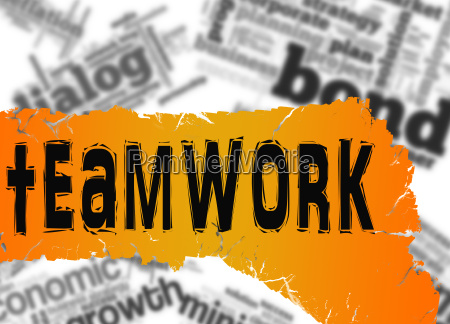 word cloud with teamwork word on