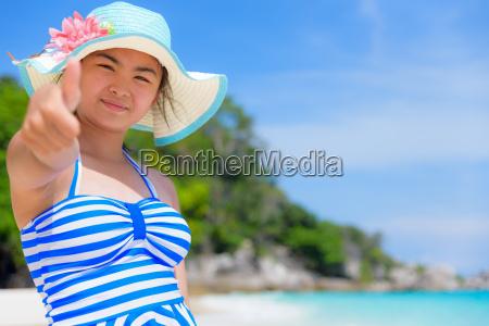girl on the beach at thailand