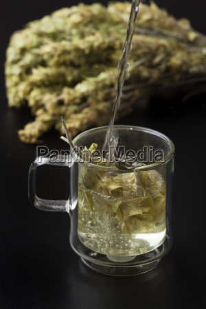 greek herbal tea in glass