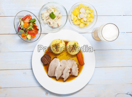 bavarian roast pork and dumplings from