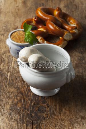 bavarian white sausage and mustard