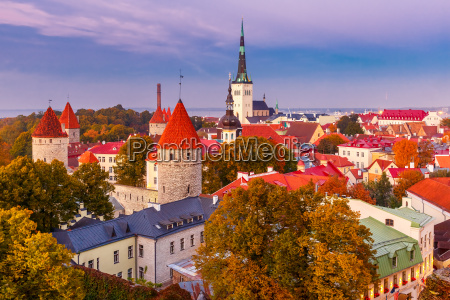 aerial view old town in the