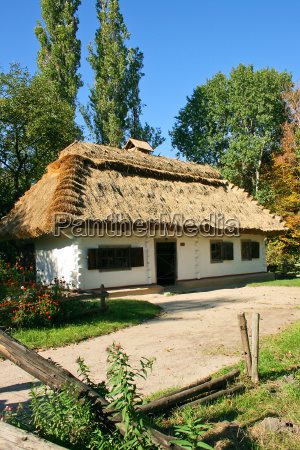 ukrainian rural cottage with a straw