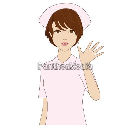a smiling nurse in uniform waving