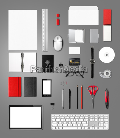 office supplies mockup template isolated on