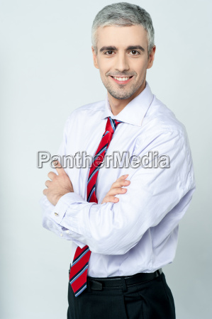 business executive posing in formals