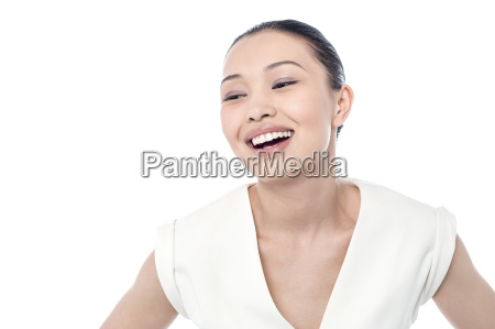 pretty lady laughing lout loud