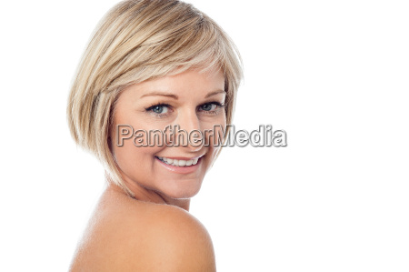 beautiful woman looking over shoulder