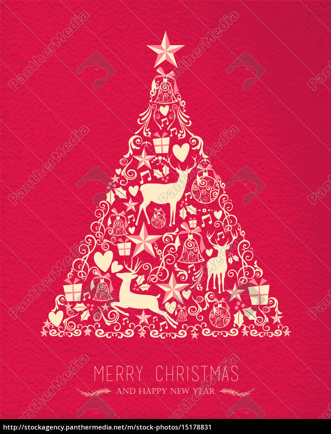 merry christmas happy new year pine tree deer card stock photo 15178831 panthermedia stock agency https stockagency panthermedia net m stock photos 15178831 merry christmas happy new year pine