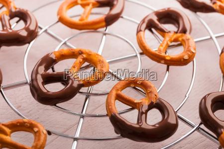 pretzel with salt and chocolate