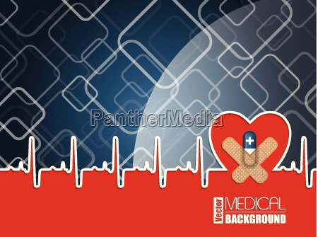 medical background with ekg heart and
