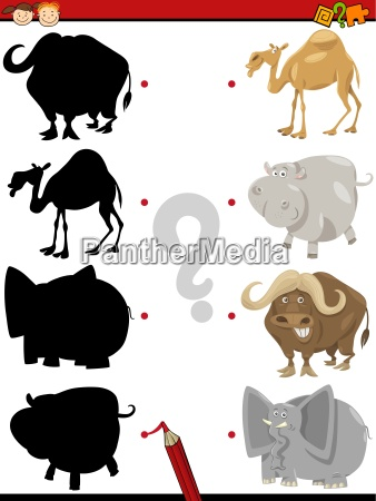 preschool shadow task with animals