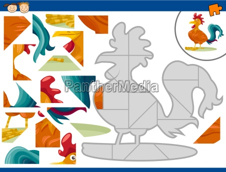 cartoon rooster jigsaw puzzle task