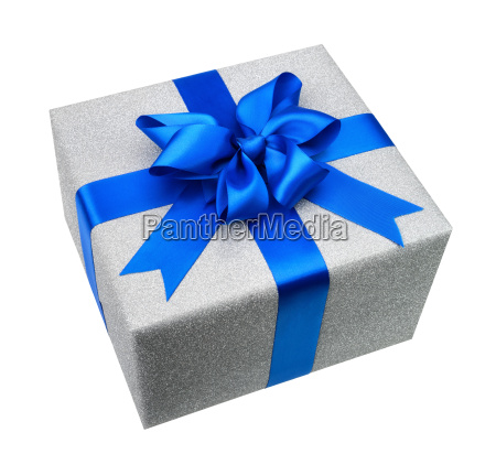 silver gift package with elegant blue