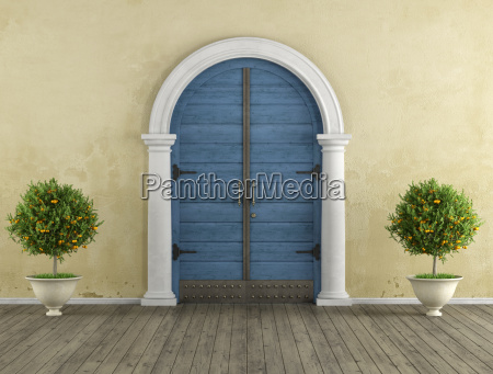 retro home entrance with old portal