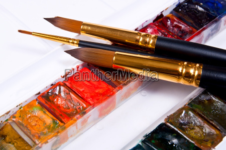 professional watercolor paints in box with