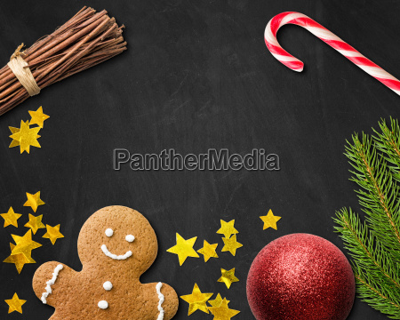 christmas card with gingerbread man and