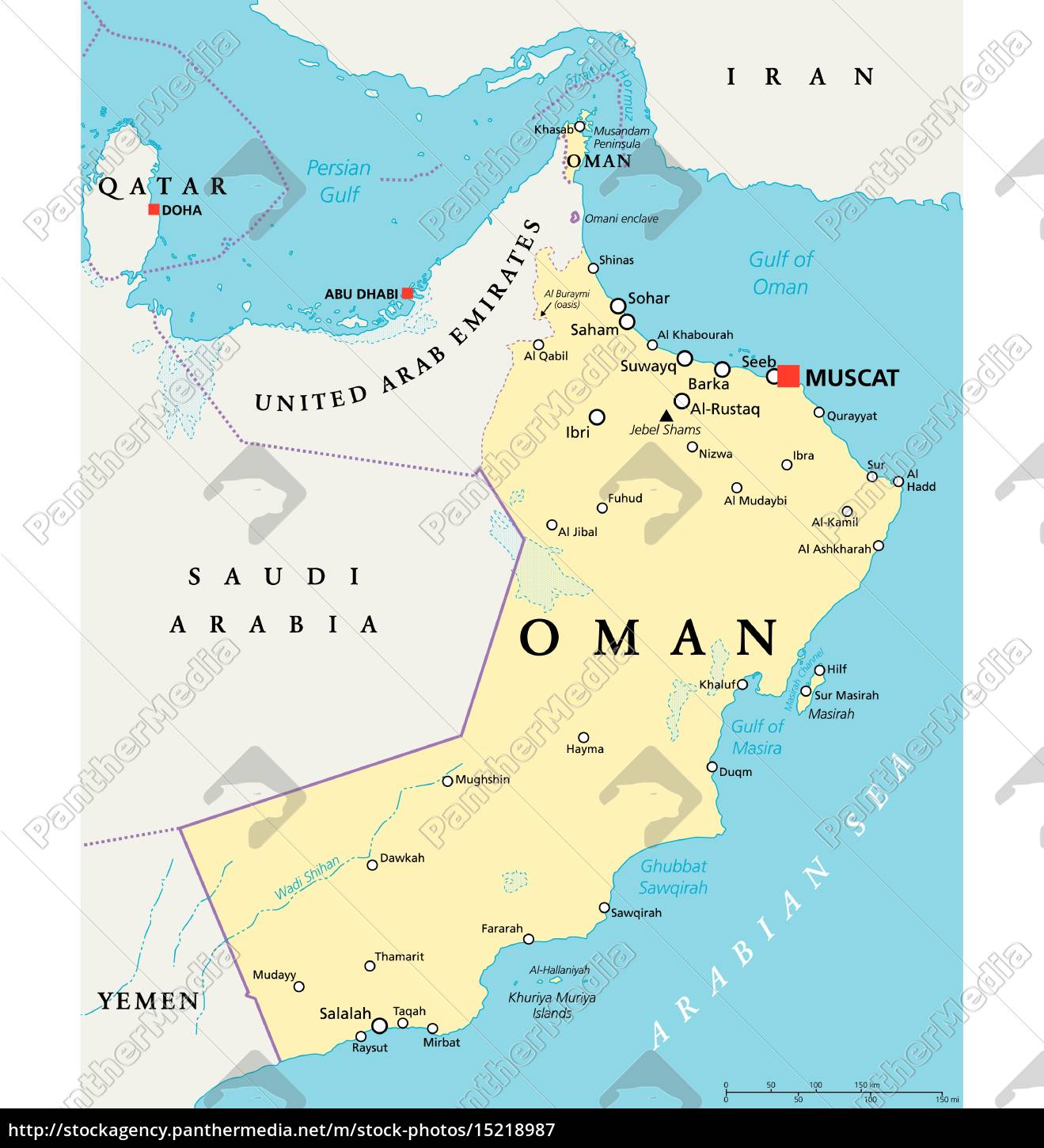 Oman Political Map Stock Photo 15218987 Panthermedia Stock