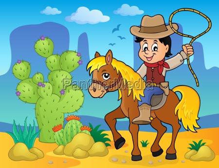 cowboy on horse theme image 2