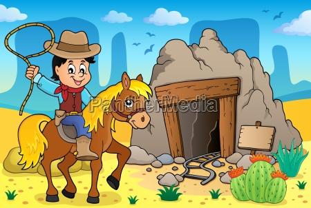 cowboy on horse theme image 3
