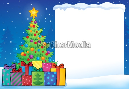 frame with christmas tree topic 7