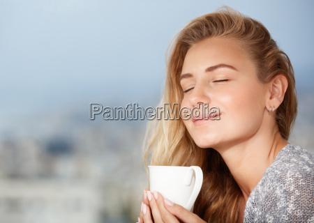 enjoying morning coffee