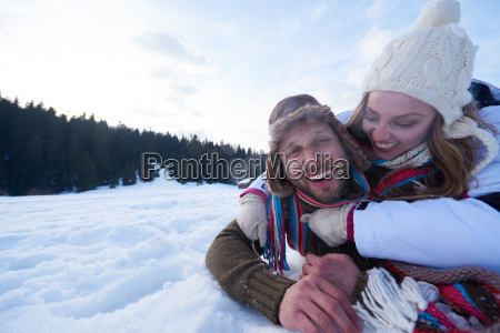 romantic young couple on winter vacation