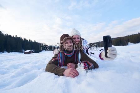 romantic couple have fun in fresh