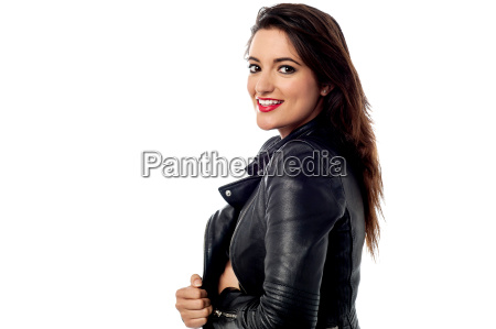 fashion woman in leather jacket