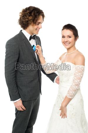 beautiful bride taking credit card