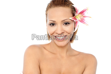 unclad woman ready for spa therapy