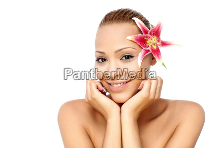 pretty young female model with flower