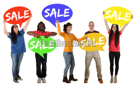 sale offer shopping sale group young