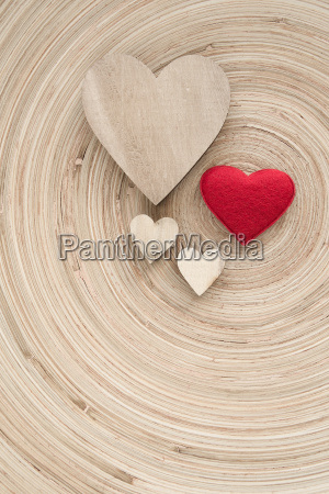 valentines wooden hearts on a retro