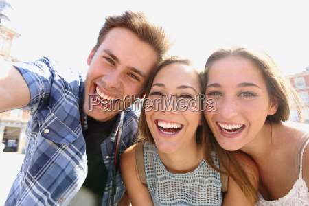 group of teen friends taking a