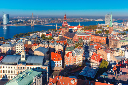 aerial view of old town and