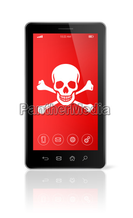 smartphone with a pirate symbol on