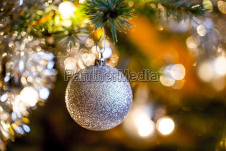 decorated christmas tree with silver balls