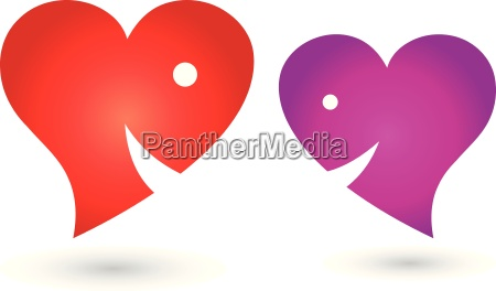 two hearts with smile logo