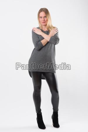 blond fashion woman in slim black