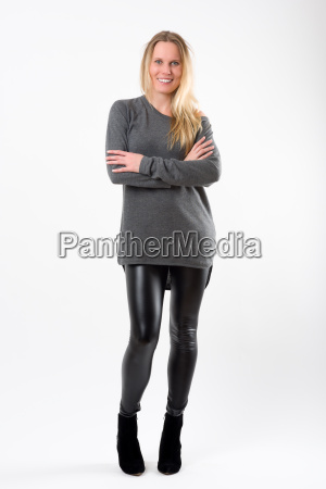 blond fashion woman in slim black