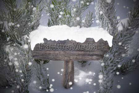 christmas sign snowflakes fir tree copy