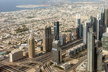 downtown dubai skyscrapers and road