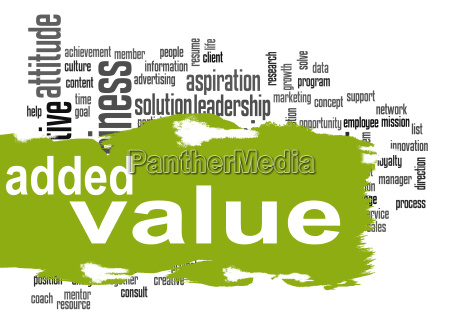 added value word cloud with green