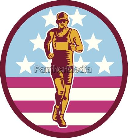 marathon runner usa flag circle woodcut