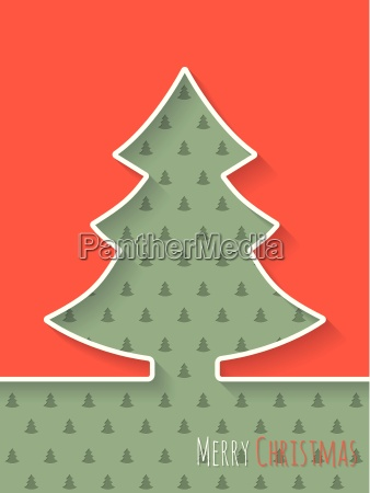 christmas greeting card with white tree