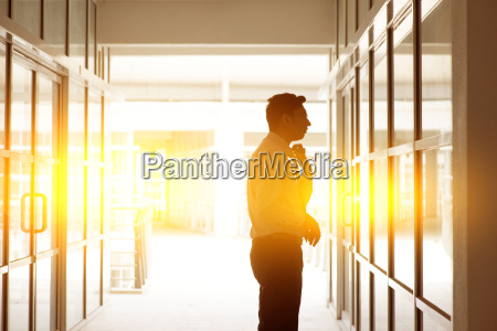 indian businessman grooming in front office
